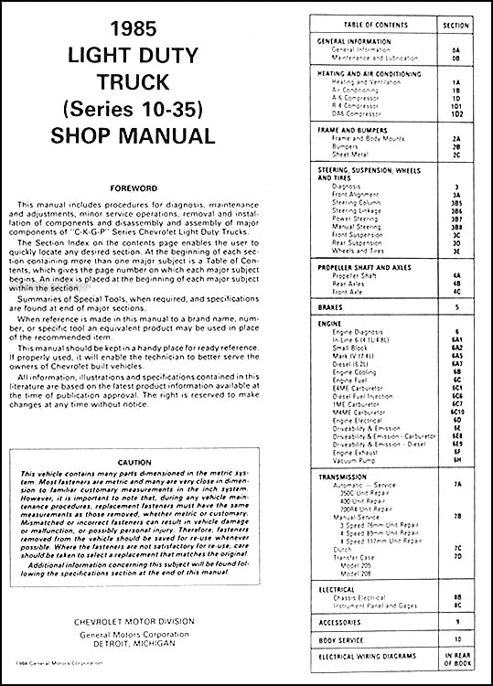 1985 chevy truck owners manual pdf