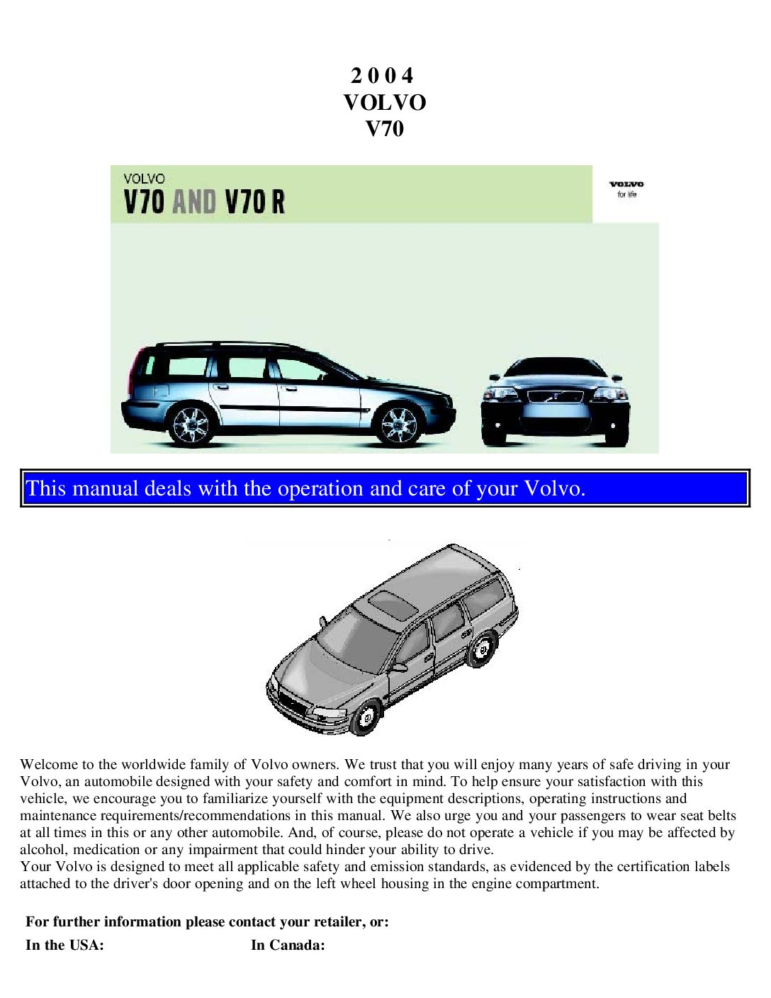 2004 volvo v70 owners manual