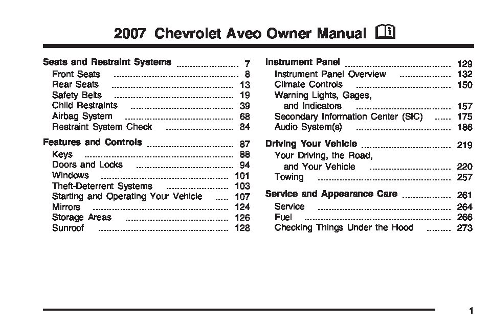 2005 chevy aveo owners manual