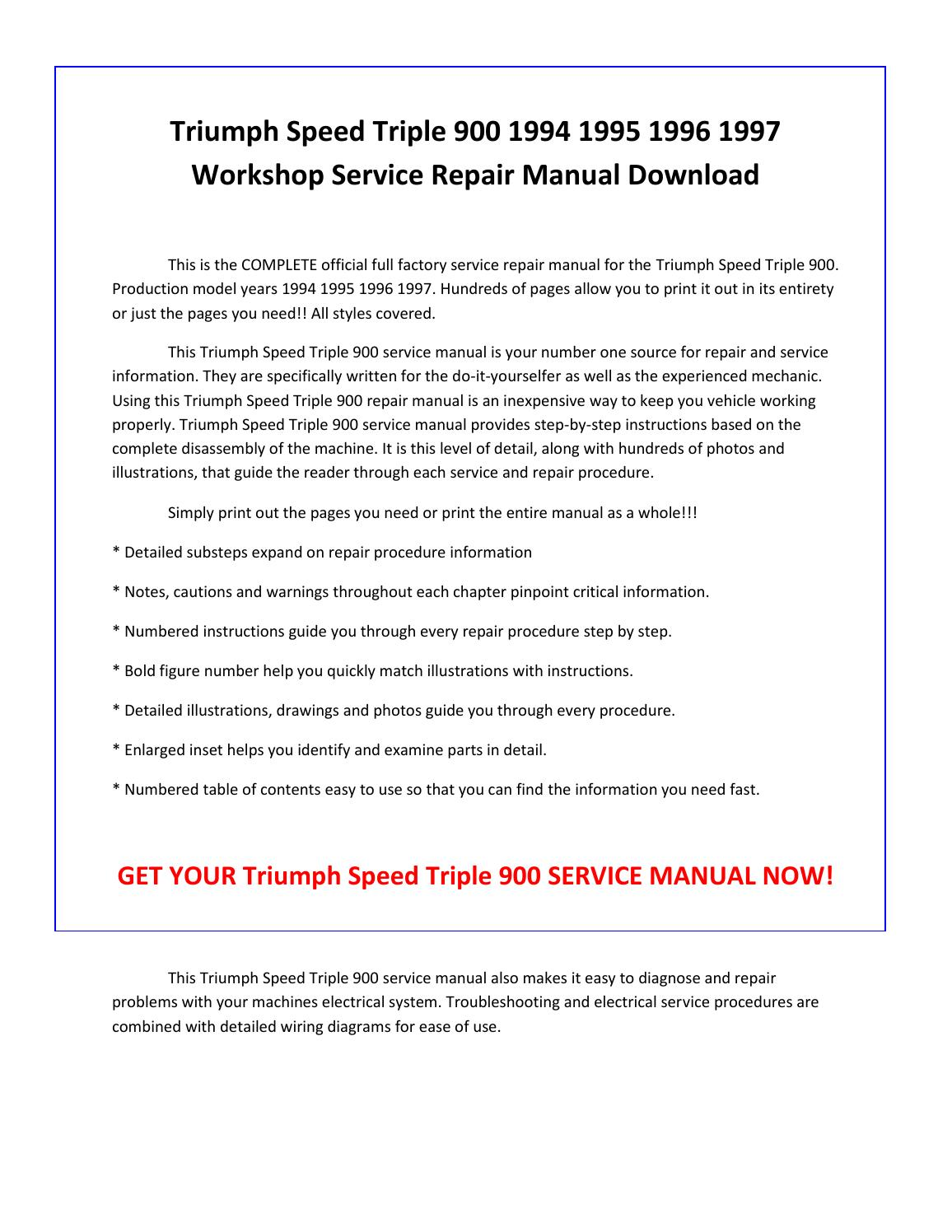 1995 triumph speed triple owners manual