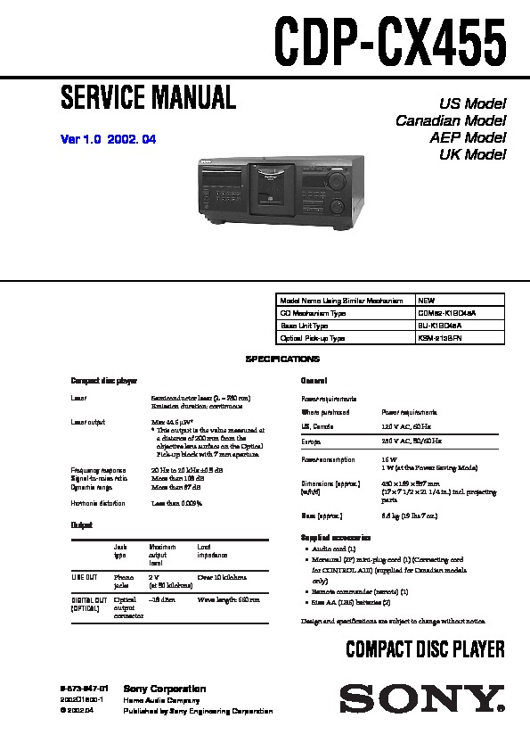 sony cdp cx455 owners manual